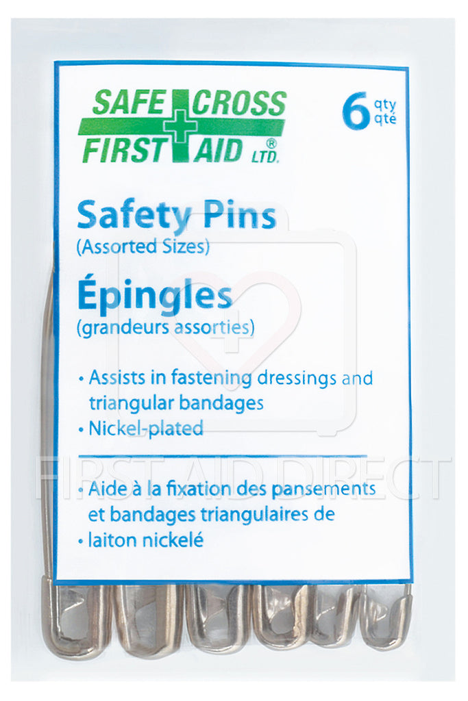 SAFETY PINS, ASSORTED SIZES, 6's