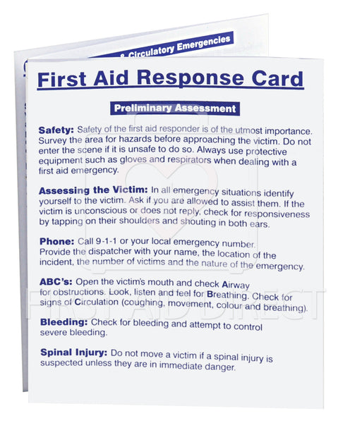 FIRST AID RESPONSE CARD (ENGLISH/FRENCH)