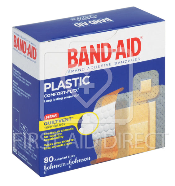 BAND-AID BRAND, COMFORT-FLEX PLASTIC BANDAGES, ASSORTED, 80's