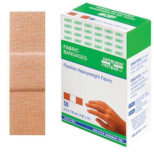 FABRIC BANDAGES, 2.2 x 7.6 cm, HEAVYWEIGHT, 50's