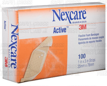 Active Strips Flexible Foam, Sterile, Tan Colour - 2.5 x 7.6 cm (1 x 3), 100/Box