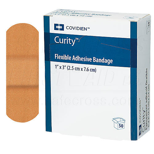 CURITY, FABRIC BANDAGES, 2.5 x 7.6 cm, LIGHTWEIGHT, 50's