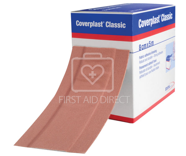 COVERPLAST, FABRIC DRESSING STRIP, 8 cm x 5 m, HEAVYWEIGHT