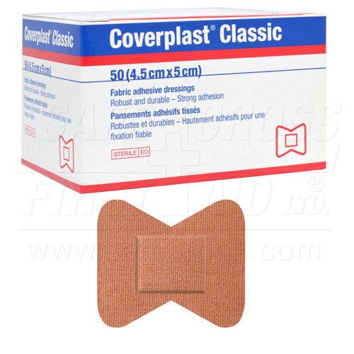COVERPLAST, FABRIC BANDAGES, FINGERTIP SMALL, 4.4 x 5.1 cm, HEAVYWEIGHT, 50's