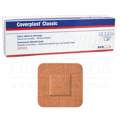 COVERPLAST, FABRIC BANDAGES, SMALL PATCH, 3.8 x 3.8 cm, HEAVYWEIGHT, 100's