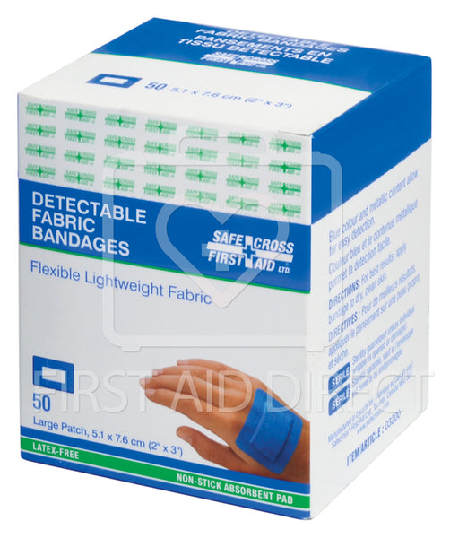 FABRIC DETECTABLE BANDAGES, LARGE PATCH, 5.1 x 7.6 cm, LIGHTWEIGHT, 50's
