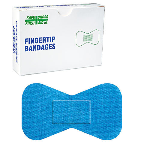 FABRIC DETECTABLE BANDAGES, FINGERTIP LARGE, 4.4 x 7.6 cm, LIGHTWEIGHT, 12's