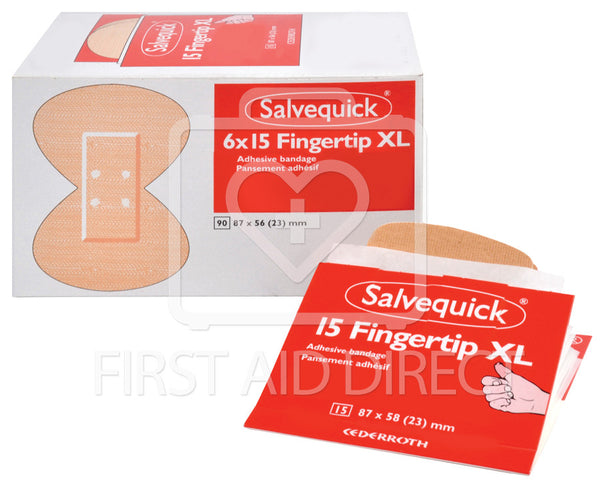 SALVEQUICK, FABRIC BANDAGE FINGERTIP LARGE REFILLS, 6 x 15's