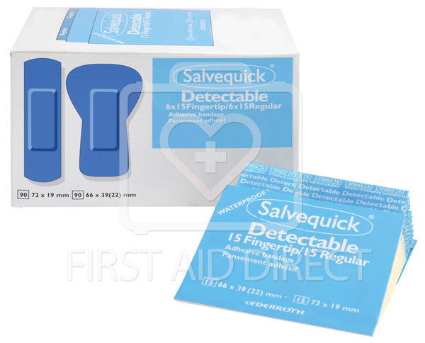 SALVEQUICK, PLASTIC DETECTABLE ASSORTED BANDAGE REFILLS, 6 x 30's, Sterile