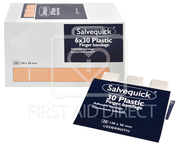 SALVEQUICK, PLASTIC BANDAGE REFILLS, EXTRA-LONG, 6 x 30's