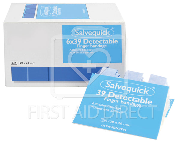 SALVEQUICK, PLASTIC DETECTABLE BANDAGE REFILLS, EXTRA-LONG, 6 x 39's