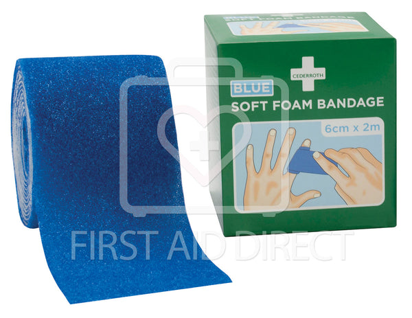 CEDERROTH, SOFT FOAM BANDAGE, BLUE, 6 cm x 2 m