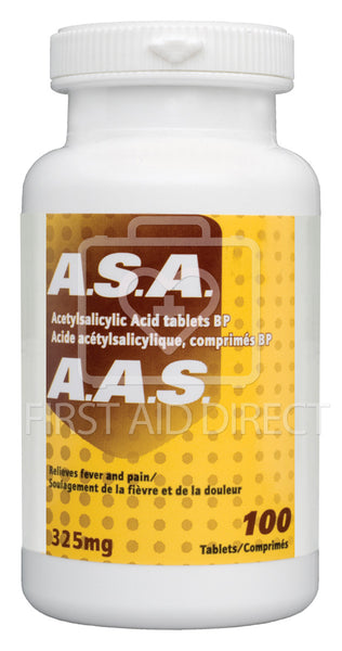 A.S.A. ACETYLSALICYLIC ACID TABLETS, 325 mg, 100's