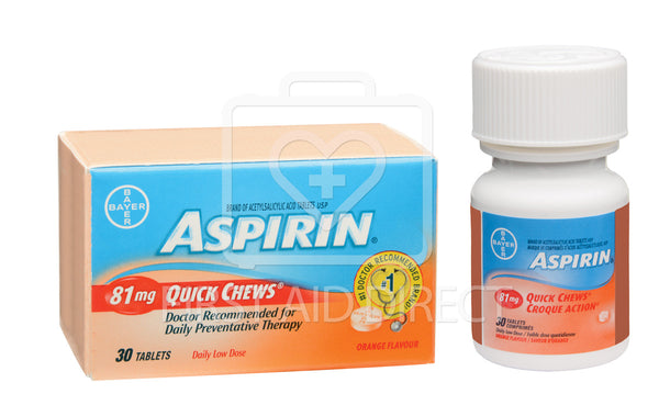 ASPIRIN, 81 mg, QUICK CHEW TABLETS, 30's