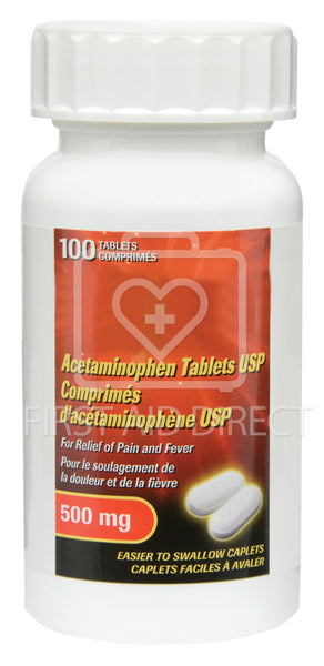 ACETAMINOPHEN CAPLETS, EXTRA-STRENGTH, 500 mg, 100's
