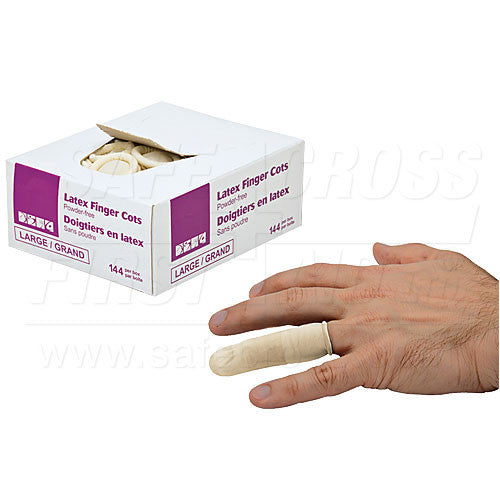 FINGER COTS, LATEX, POWDER-FREE, LARGE, 144's