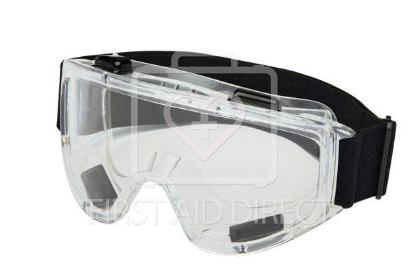 GOGGLE, INDIRECT, ANTI-FOG, CLEAR, POLYCARBONATE LENS, PVC FRAME