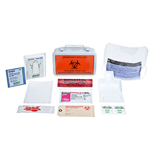 BIOHAZARD CLEAN-UP SPILL KIT, DELUXE, 10 UNIT, METAL BOX