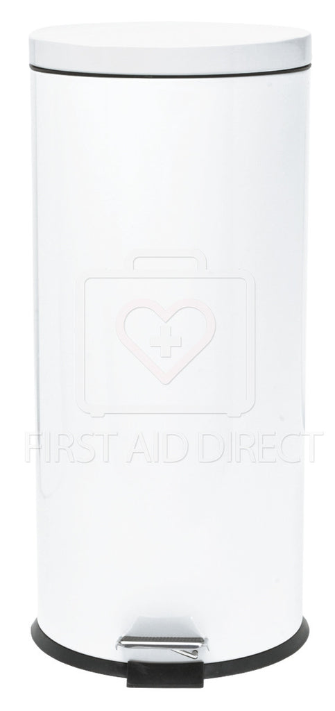 WASTE RECEPTACLE, STEP-ON, MED-CAN, 30.2 L, WHITE