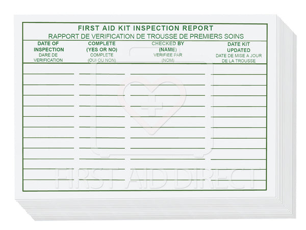 FIRST AID KIT INSPECTION REPORT CARDS, 25's