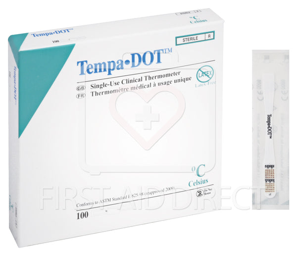 THERMOMETER, ORAL/AXILLARY, TEMPA-DOTS, 100's