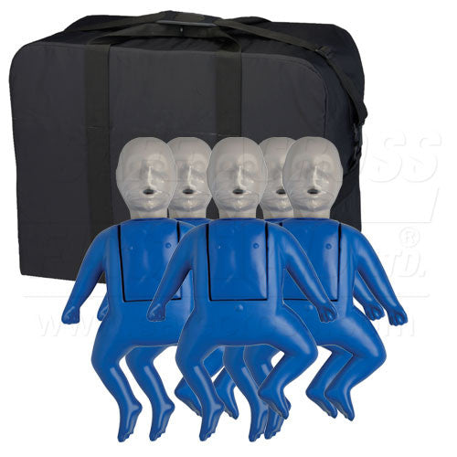 CPR PROMPT, TRAINING KIT, w/5 INFANT MANIKINS & 50 FACE SHIELD/LUNG BAGS
