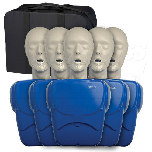 CPR PROMPT, TRAINING KIT, w/5 ADULT/CHILD MANIKINS & 50 FACE SHIELD/LUNG BAGS