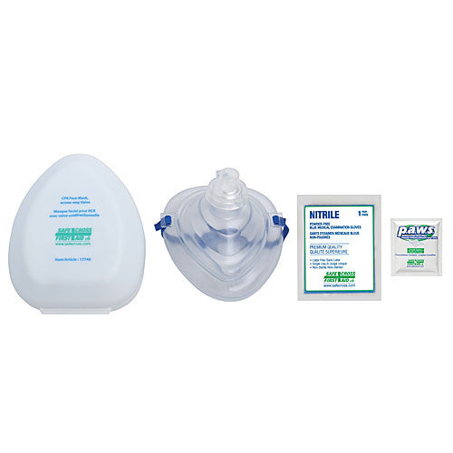 CPR FACE MASK, w/ONE-WAY VALVE, GLOVES & ANTIMICROBIAL WIPE, IN PLASTIC CASE