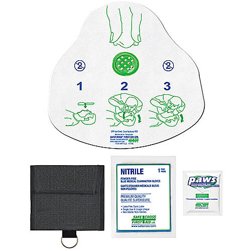 CPR FACE SHIELD, IN NYLON POUCH MEDIUM, w/1 PAIR NITRILE GLOVES & WIPE