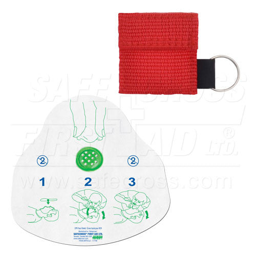 CPR FACE SHIELD, IN MINI POUCH, RED