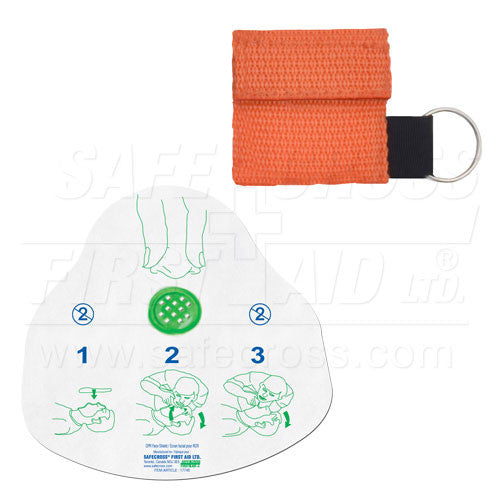 CPR FACE SHIELD, IN MINI POUCH, ORANGE
