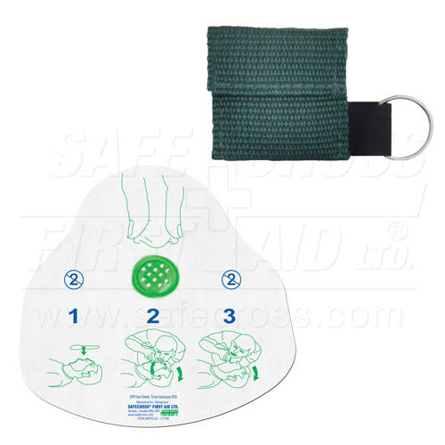 CPR FACE SHIELD, IN MINI POUCH, GREEN