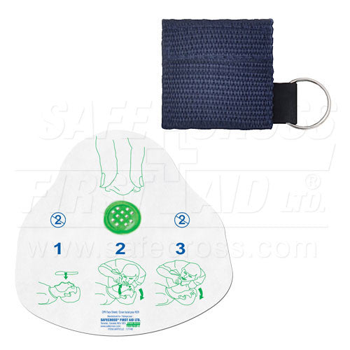 CPR FACE SHIELD, IN MINI POUCH, NAVY BLUE