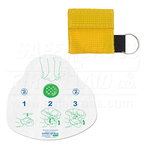CPR FACE SHIELD, IN MINI POUCH, YELLOW