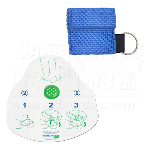 CPR FACE SHIELD, IN MINI POUCH, ROYAL BLUE
