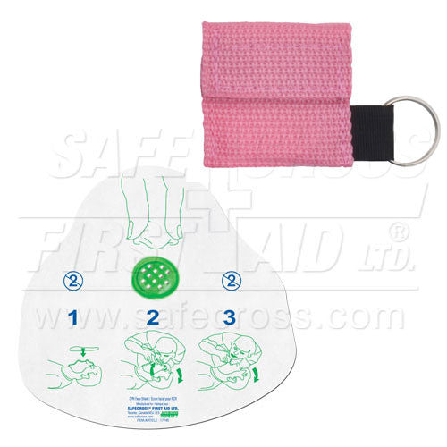 CPR FACE SHIELD, IN MINI POUCH, PINK