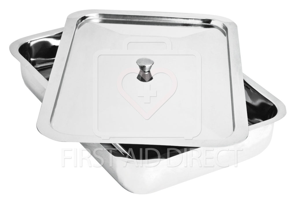 INSTRUMENT TRAY w/COVER, 20.3 x 30.5 x 6.4 cm, STAINLESS STEEL