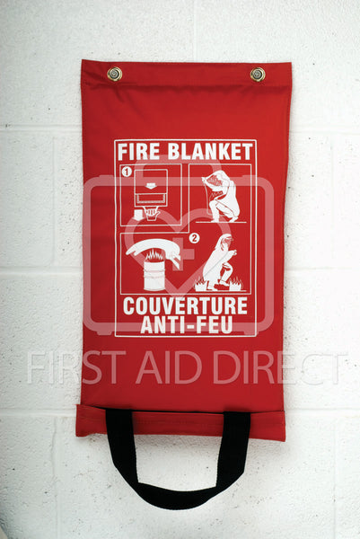 FIRE BLANKET, FIBREGLASS, IN HANGING POUCH, 150 x 183 cm