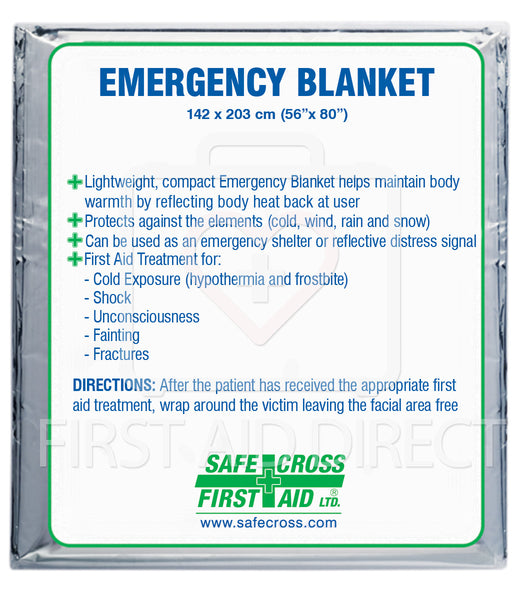 BLANKET, EMERGENCY, FOIL/MYLAR, 142.2 x 203.2 cm