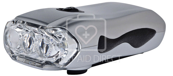 FLASHLIGHT w/LED BULB, CRANK-STYLE, RECHARGEABLE