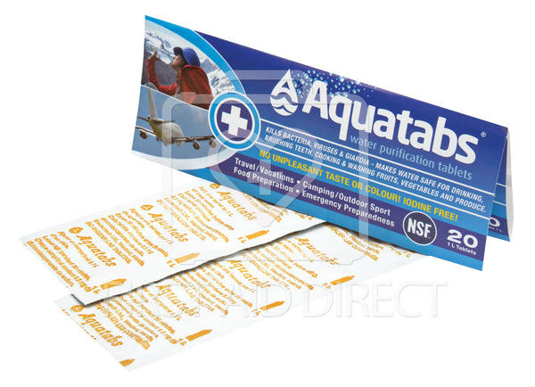 WATER PURIFICATION TABLETS, AQUATABS, 20's