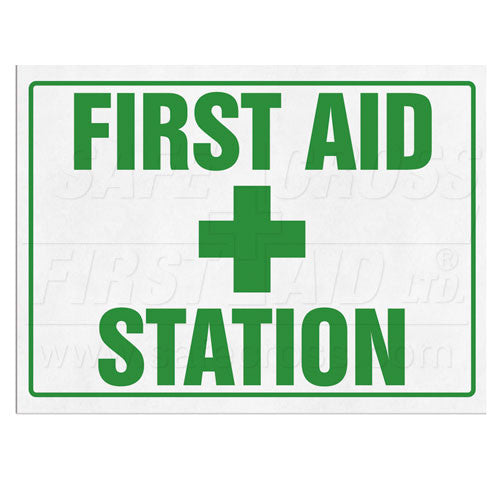 "SIGN, FIRST AID STATION, 35.6 x 25.4 cm (14"" x 10""), ENGLISH"