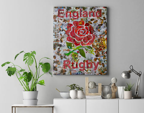 England Rugby Collage Canvas Print - multymedia