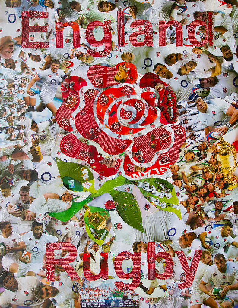 Collage Art England Rugby Giclee Print mNw8nv0O