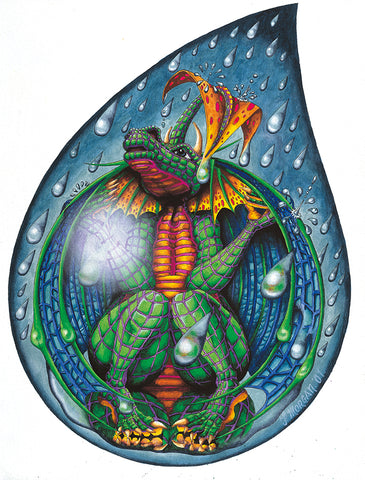 Dragon Water Drop Giclee Print by Francis Morgan - multymedia