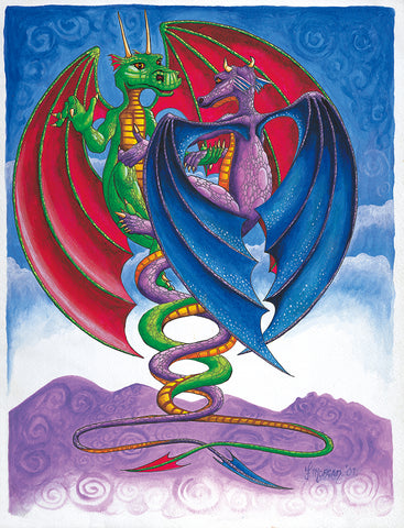 Dragon Couple Poster by Francis Morgan - multymedia