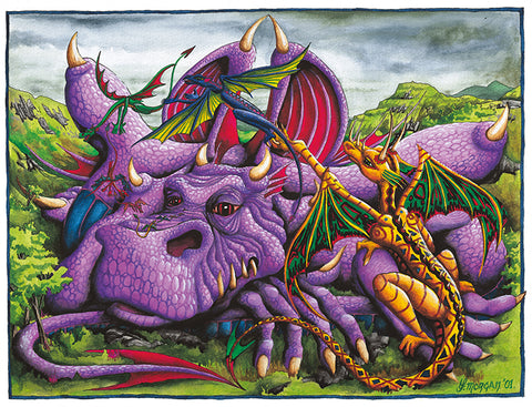 Purple Dragon Giclee Print by Francis Morgan - multymedia