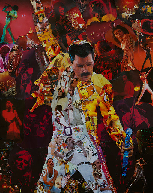 Freddie Mercury of Queen Collage Poster - multymedia
