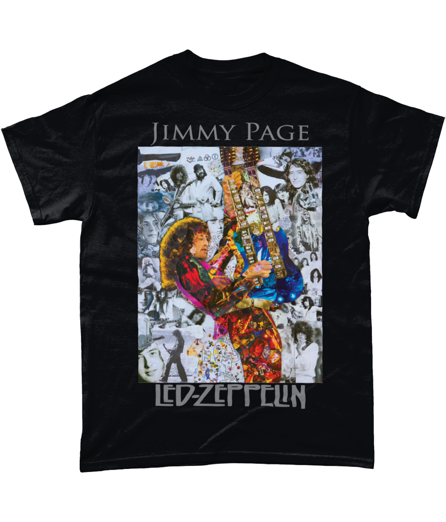 Led Zeppelin Jimmy Page Collage Short-Sleeve T-Shirt - multymedia