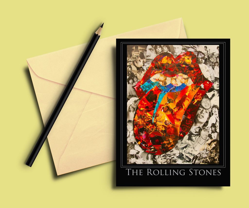 Rolling Stones Collage Greeting Card - multymedia